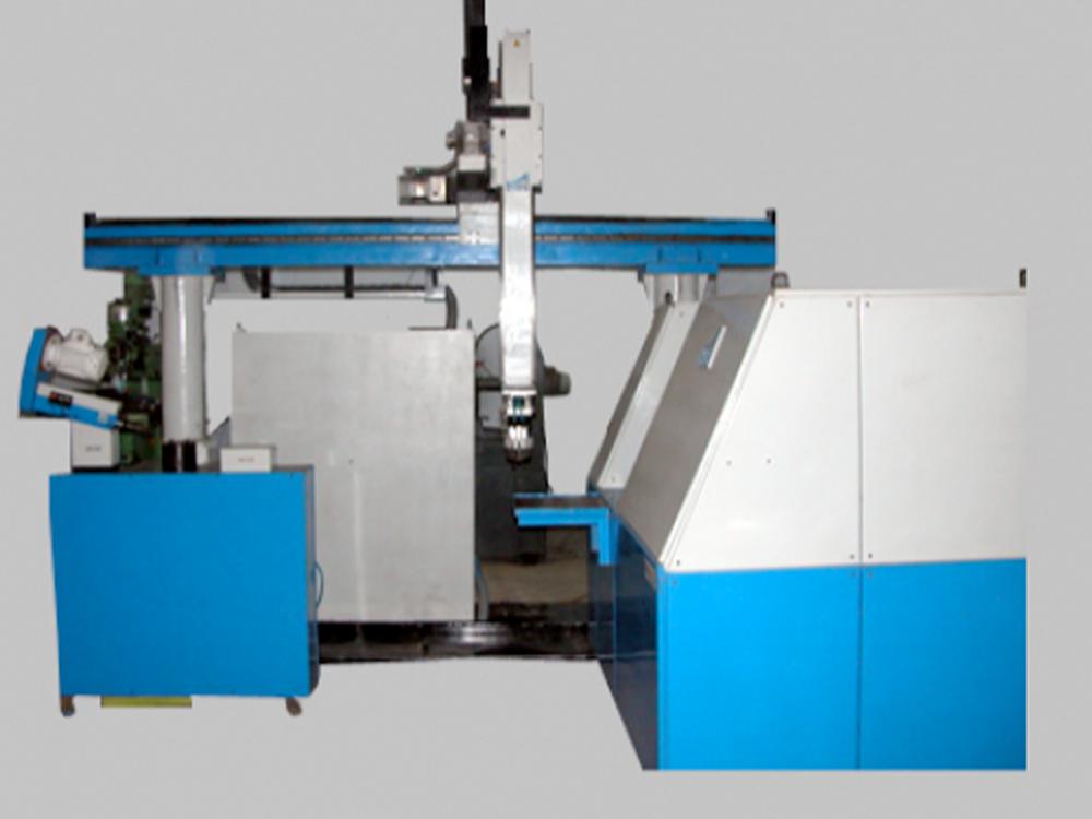 3 Axes Linear Gantry Robot integrating CNC Lathe and SPM
